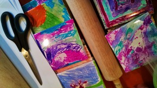 Painted tile coasters.