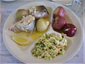 Fish boil dinner: Whitefish, potatoes, onions, coleslaw. Yum