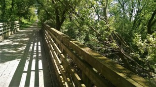 This wooden railing keeps me from going over the edge.