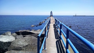 A Lake Michigan lighthouse in June.