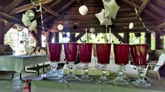 No campsite wedding is complete without red solo champagne cups.