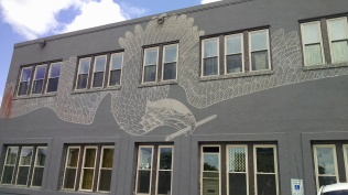 This is a building in which artists gather. That might explain the rendering of the eagle on the building.