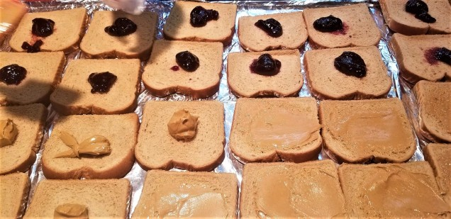 I helped put together PB&J sandwiches the afternoon before camp started.