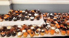 Lots of cupcakes for us to eat. It's not Halloween, those are our church colors.
